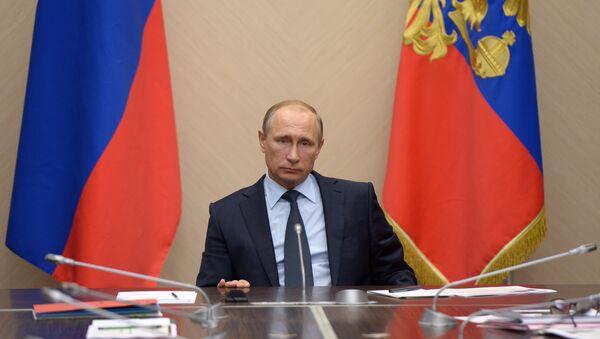 Prezydent Rosji Władimir Putin podczas narady poświęconej bużetowi w 2016 roku - Sputnik Polska