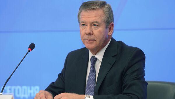 Wiceminister spraw zagranicznych Rosji Giennadij Gatiłow na konferencji prasowej w agencji Rossiya Segodnya - Sputnik Polska