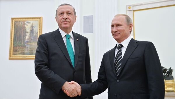 Prezydent Turcji Recep Tayyip Erdoğan i prezydent Rosji Władimir Putin podczas spotkania na Kremlu - Sputnik Polska
