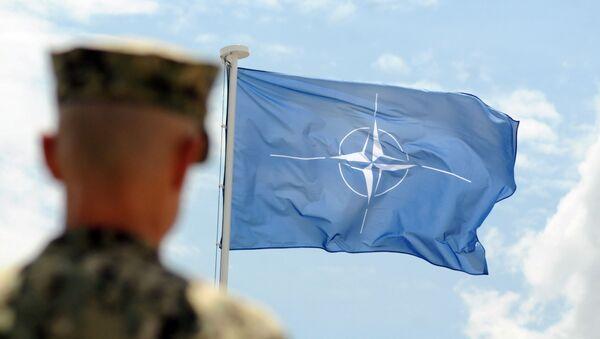 Żołnierz NATO na tle flagi NATO w Kosowie - Sputnik Polska