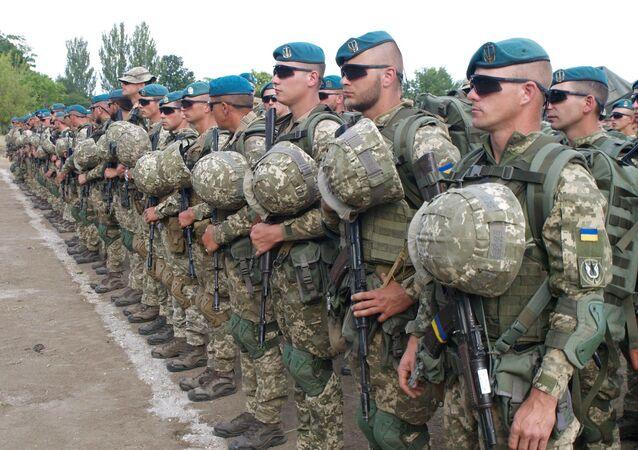 Ukraińscy żołnierze w dniu rozpoczęcia międzynarodowych ćwiczeń morskich Sea Breeze 2019 w Odessie