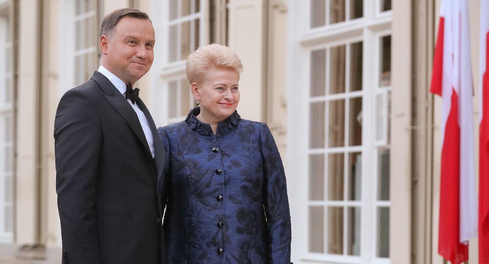 Andrzej Duda i Dalia Grybauskaite podczas obchodów 450 rocznicy zawarcia Unii Lubelskiej