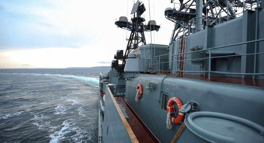 "Okręt ""Seweromorsk"" na Morzu Barentsa"