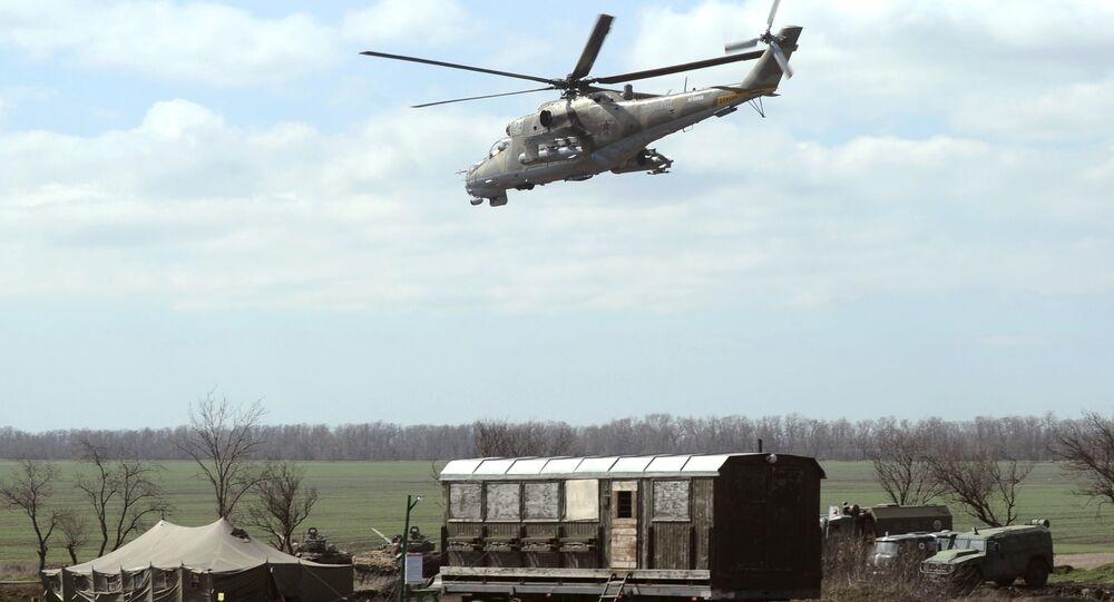 Śmigłowiec Mi-24 na dwustronnych batalionowych ćwiczeniach taktycznych w obwodzie rostowskim