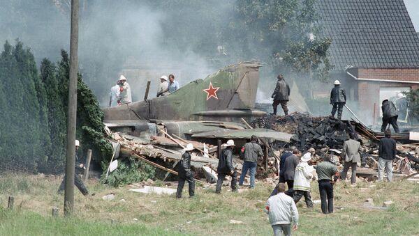 Tylna część radzieckiego MiG-a-23, który runął na dom w belgijskiej miejscowości Bellegem 4 lipca 1989 - Sputnik Polska