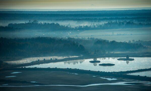 Widok na rejon ruzski obwodu moskiewskiego z lotu ptaka - Sputnik Polska