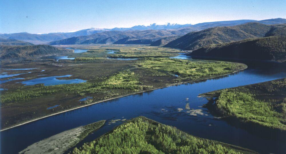 Krajobraz Tuwy. Zdjęcie archiwalne