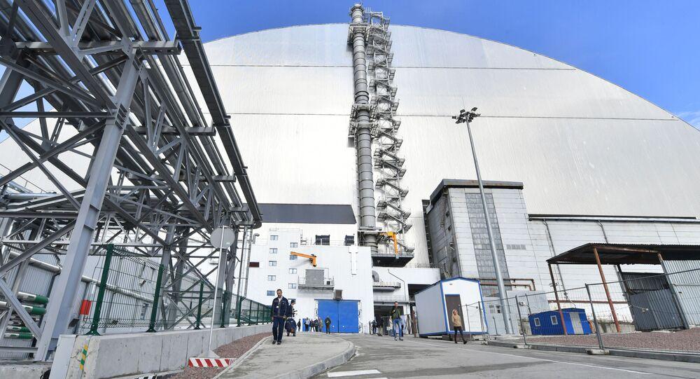 Nowy sarkofag nad Czarnobylską Elektrownią Atomową.