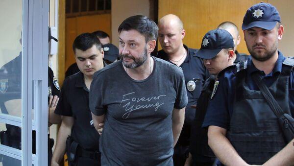 Dyrektor portalu Ria Novosti Ukraina Kiriłł Wyszynski na posiedzeniu Podolskiego Sądu Rejonowego w Kijowie - Sputnik Polska