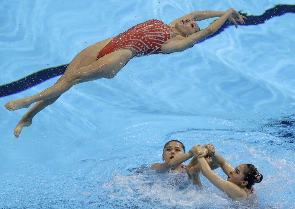 Sportsmenki z Chin na pływackich mistrzostwach świata w południowokoreańskim Gwangju