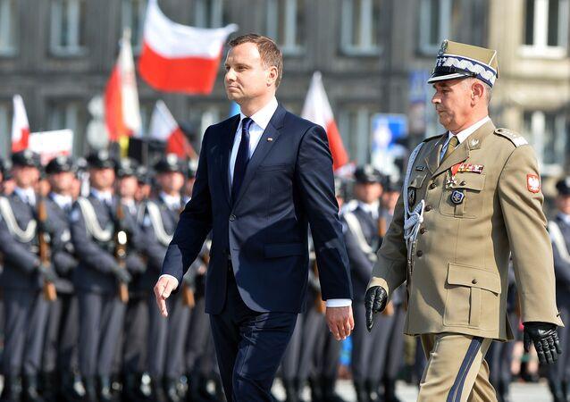 Prezydent Polski Andrzej Duda na Placu Piłsudskiego w Warszawie