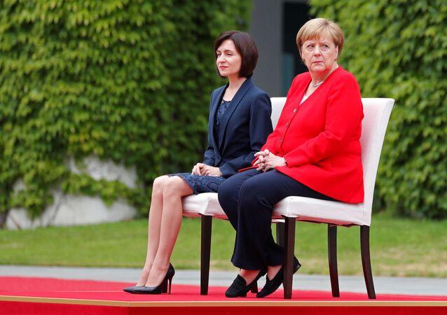 Premier Mołdawii Maia Sandu i kanclerz Niemiec Angela Merkel w Berlinie