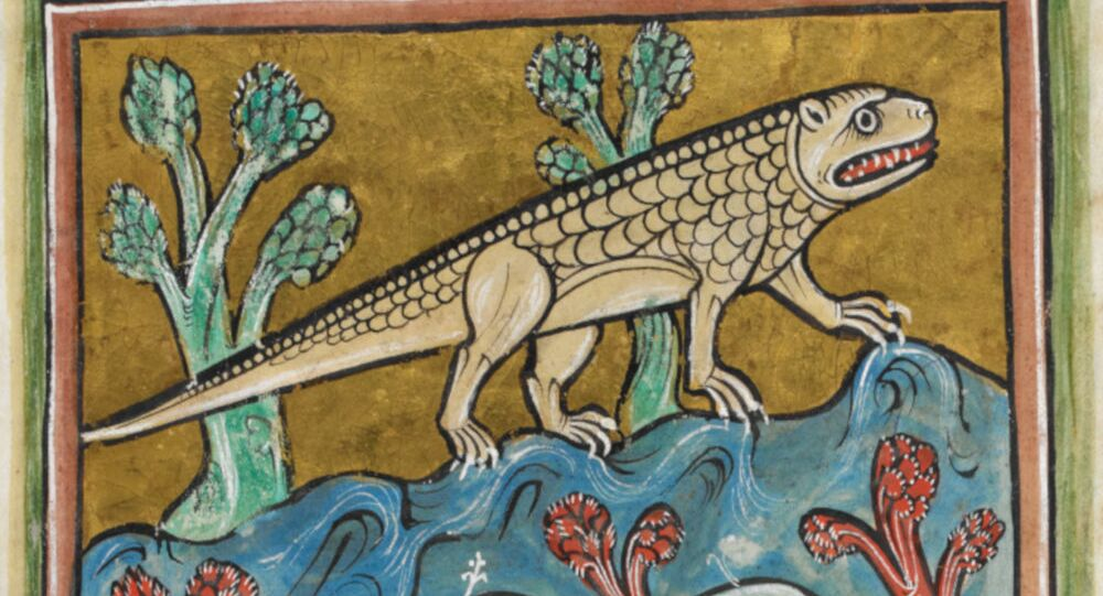 Obrazek krokodyla z Bestiariusza z Rochester, XIII wiek