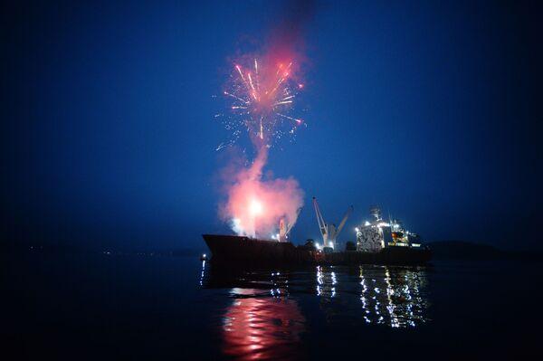 Morski statek Symfonia ozdobiony wizerunkiem amurskiego tygrysa - Sputnik Polska