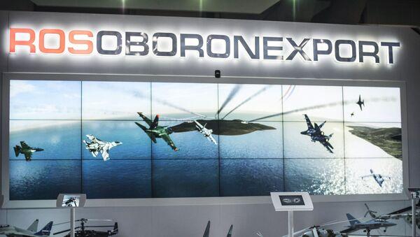 """Stoisko """"Rosoboroneksportu"""" na międzynarodowej wystawie lotniczej """"Dubai Airshow"""". Zdjęcie archiwalne - Sputnik Polska"""
