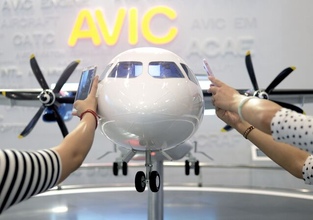 Makieta samolotu MA700 w Pekinie