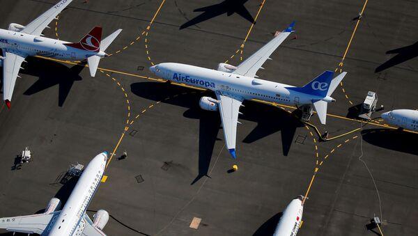 Zaparkowane samoloty Boeing 737 MAX na lotnisku Boeing Field w Seattle, USA - Sputnik Polska