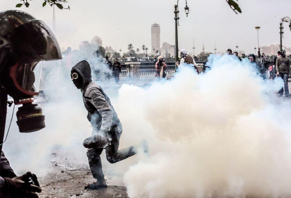 Starcia protestujących z policją w Kairze