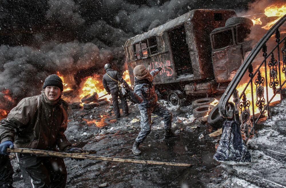 Uczestnicy Euromajdanu w Kijowie