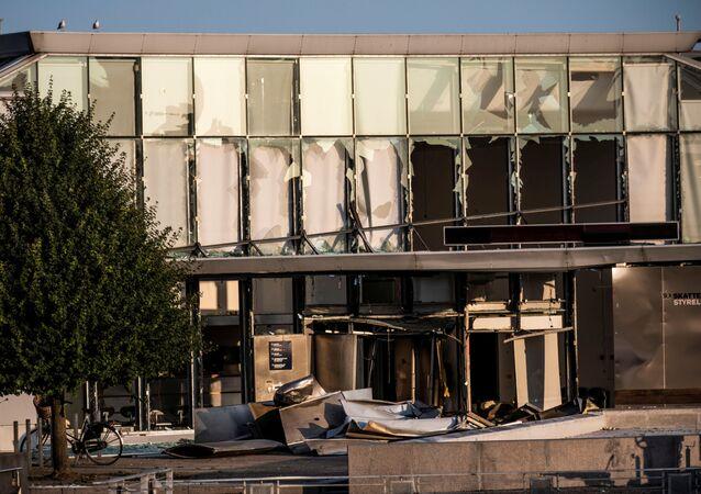 Skutki wybuchu pod budynkiem urzędu skarbowego w Kopenhadze
