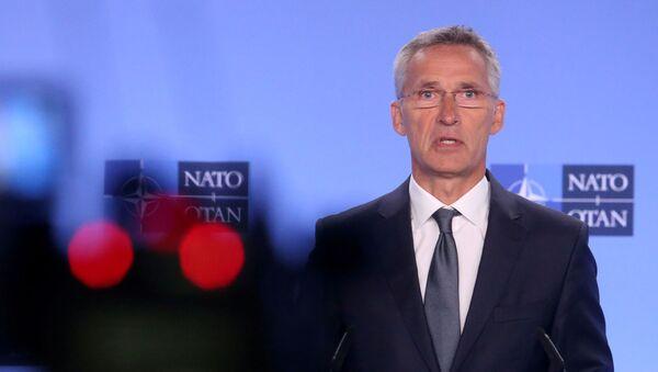 Sekretarz generalny NATO Jens Stoltenberg na konferencji w Brukseli - Sputnik Polska