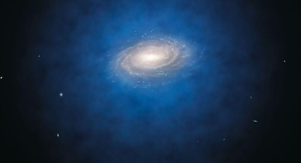 Artystyczne wyobrażenie rozmieszczenia ciemnej materii wokół Drogi Mlecznej