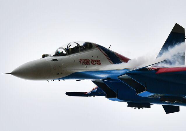 """Su-30 na ogólnorosyjskim etapie zawodów """"Aviadarts 2019"""" na poligonie lotniczym pod Riazaniem"""