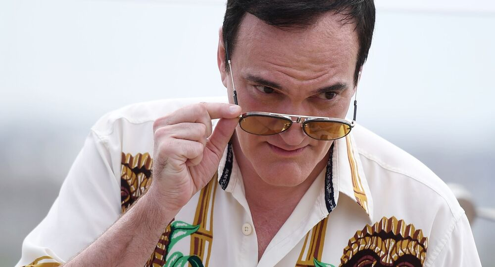 Reżyser Quentin Tarantino na dachu hotelu Ritz Carlton w Moskwie