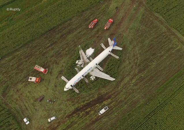 Awaryjne lądowanie samolotu pod Moskwą