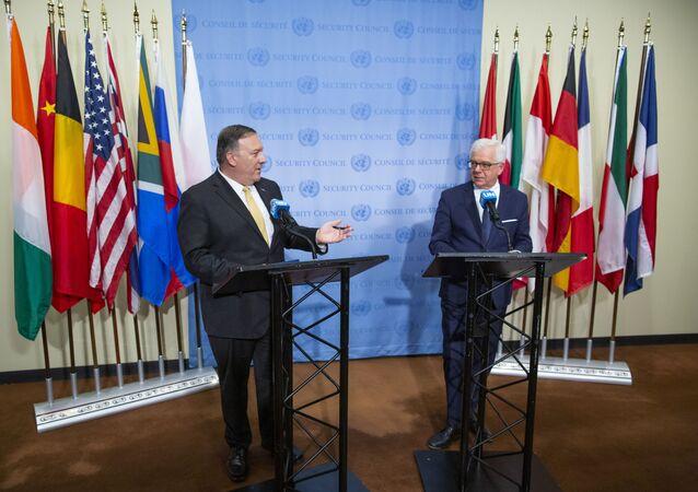Sekretarz stanu USA Mike Pompeo i szef MSZ Polski Jacek Czaputowicz