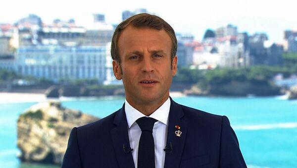 Prezydent Francji Emmanuel Macron podczas szczytu G7 w Biarritz - Sputnik Polska