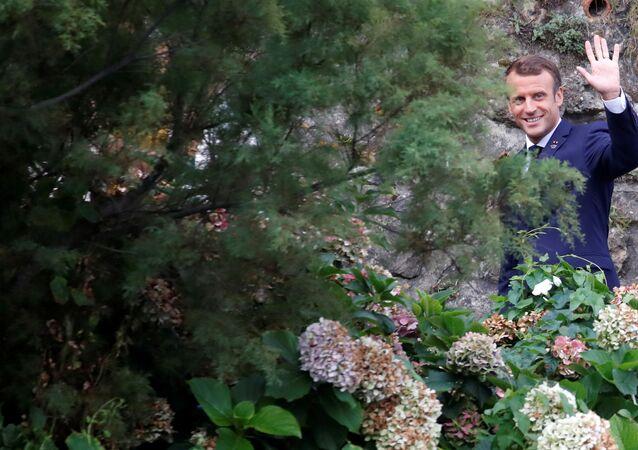 Prezydent Francji Emmanuel Macron na szczycie G7 we Francji