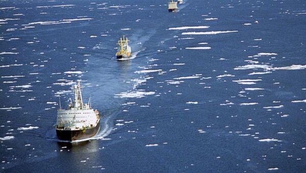 Karawana statków transportowych w towarzystwie lodołamaczy przepływa przez Północną Drogę Morską - Sputnik Polska