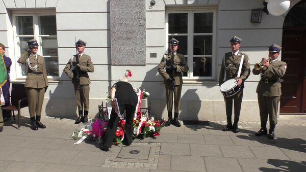 Złożenie wieńców przy byłym sztabie AL na ulicy Freta, Warszawa - Sputnik Polska