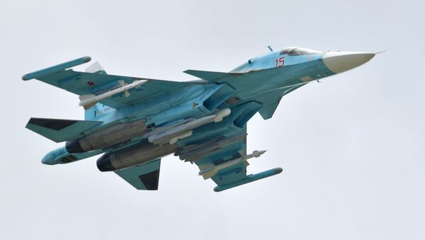 Rosyjski myśliwiec Su-34 na Międzynarodowym Salonie Lotniczym i Kosmicznym MAKS 2019  - Sputnik Polska