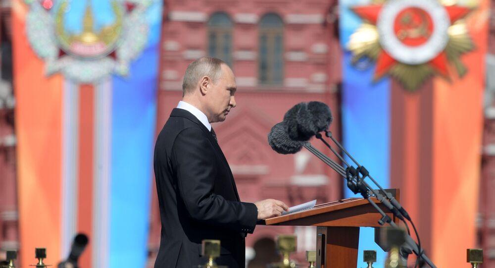 Władimir Putin na Paradzie Zwycięstwa w Moskwie