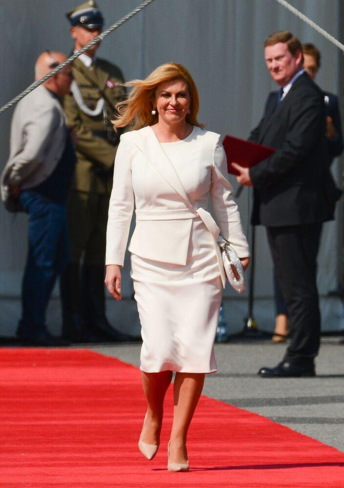 Prezydent Chorwaji Kolinda Grabar-Kitarović na uroczystości z okazji 80. rocznicy wybuchu II wojny światowej w Warszawie