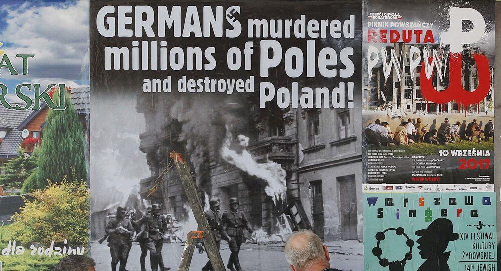 Plakat wzywający Niemcy do wypłaty powojennych reparacji Polsce