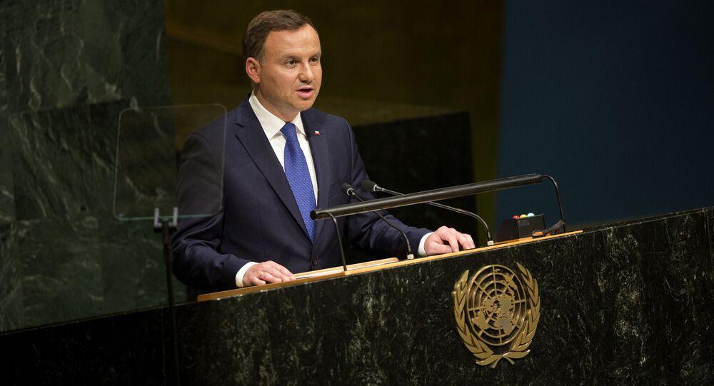 Prezydent Polski Andrzej Duda podczas wystąpienia na Szczycie Rozwoju ONZ