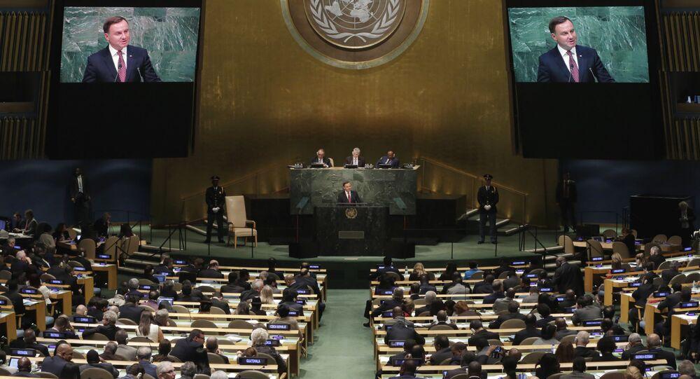Prezydent Polski Andrzej Duda podczas Zgromadzenia Ogólnego ONZ 2015