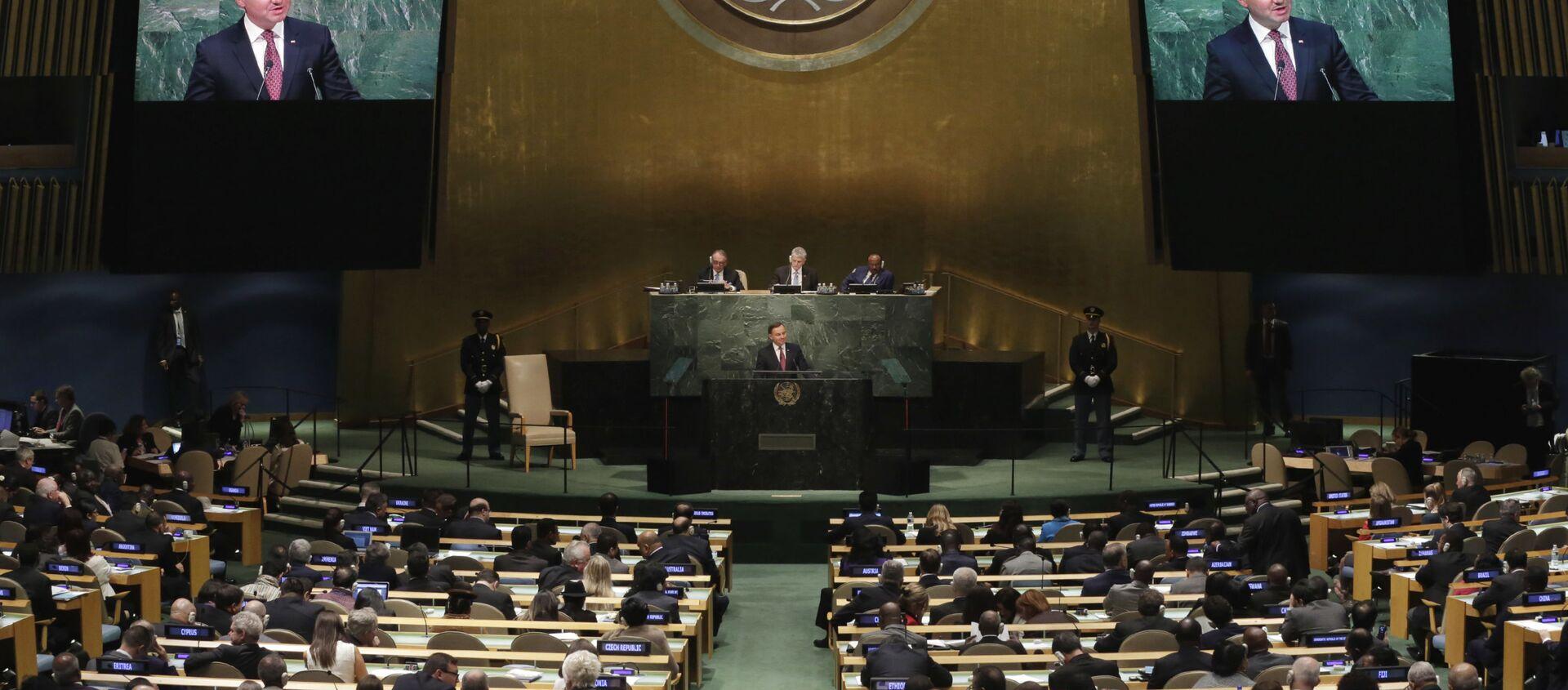 Prezydent Polski Andrzej Duda podczas Zgromadzenia Ogólnego ONZ 2015 - Sputnik Polska, 1920, 12.03.2021