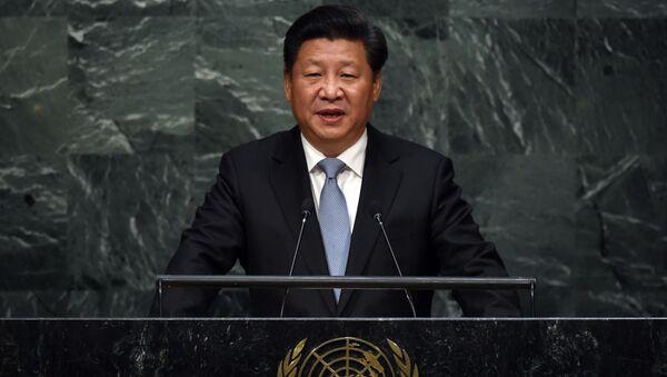 Sekretarz generalny ChRL Xi Jinping przemawia z trybuny Zgromadzenia Ogólnego ONZ - Sputnik Polska