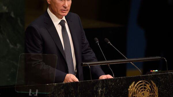 Prezydent Rosji Władimir Putin przemawia z trybuny Zgromadzenia Ogólnego ONZ - Sputnik Polska