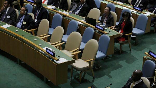 Ukraińska delegacja opuściła salę Zgromadzenia Ogólnego ONZ podczas przemówienia prezydenta Rosji Władimira Putina. - Sputnik Polska