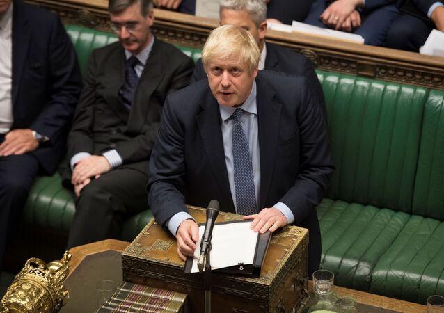 Premier Wielkiej Brytanii Boris Johnson na posiedzeniu Izby Gmin w Londynie