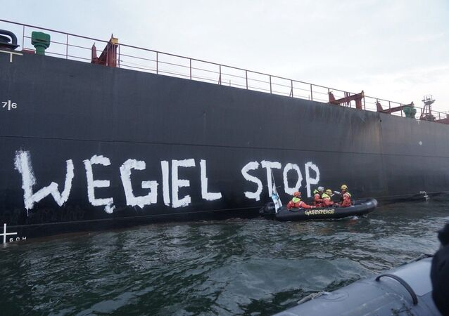 Protest Greenpeace - Węgiel stop