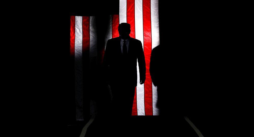 Prezydent USA Donald Trump na tle amerykańskiej flagi