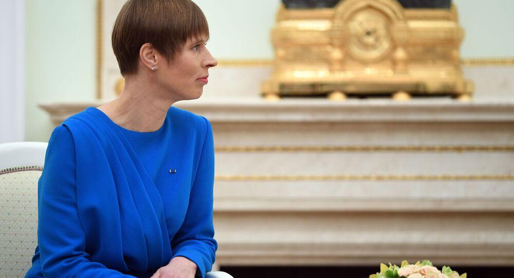 Prezydent Estonii Kersti Kaljulaid w czasie spotkania z prezydentem Rosji Władimirem Putinem