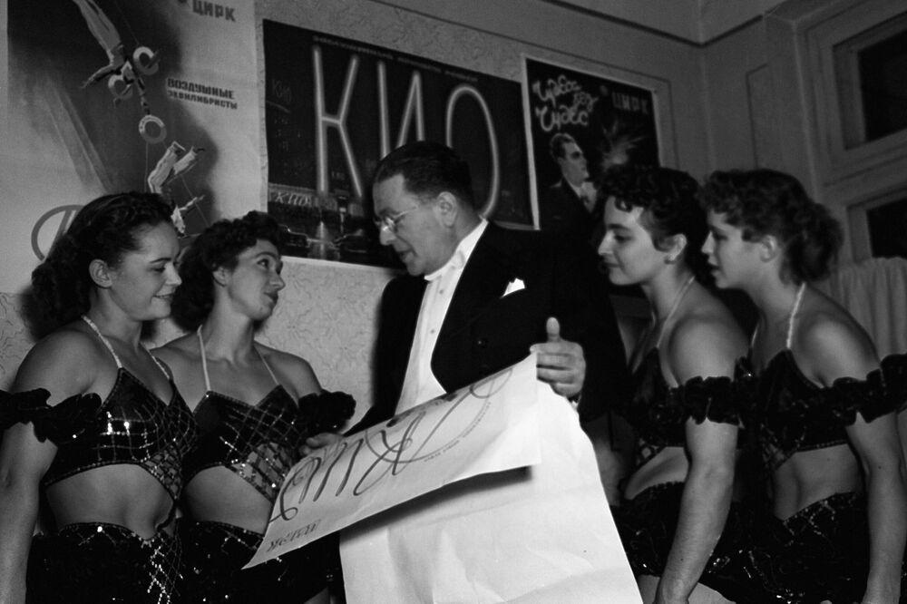 Iluzjonista Emil Kio i akrobatki cyrkowe z dynastii Bubnow, 1957 rok