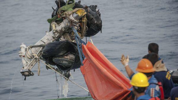 Wyciągnięcie z morza podwozia samolotu Lion Air, który rozbił się w Indonezji - Sputnik Polska